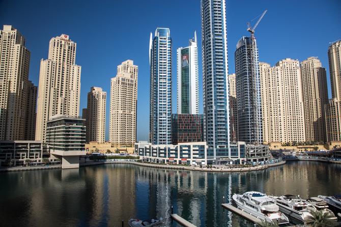 uitzicht vanaf het terras van de Dubai Marina Mall